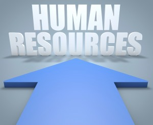 Human Resources - 3d render concept of blue arrow pointing to text.